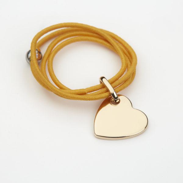 Bague cordon jaune coeur plaqué or à personnaliser