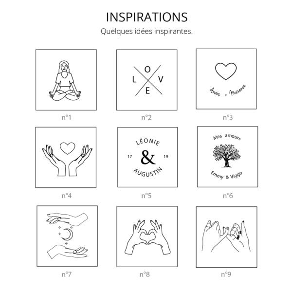 Idées de gravure bracelet médaille, coeur avec les mains, love, namasté, arbre de vie,...
