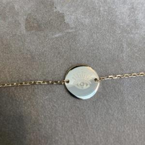 Bracelet chaîne pastille en plaqué or 3 microns