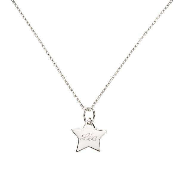 Collier médaille étoile 10 mm en argent