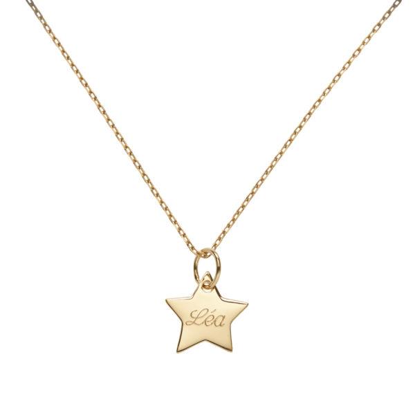 Collier médaille étoile 10 mm en plaqué or à personnaliser. Gravure offerte