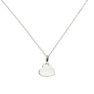 Collier médaille petit coeur moderne en argent rhodié ne noircit pas. Coeur à personnaliser, gravure offerte.