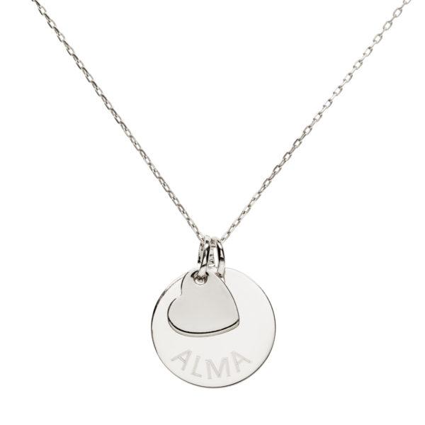Collier médaille 20 mm coeur en argent 925