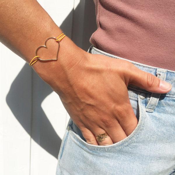 Bracelet grand coeur simplebracelet coeur simple plaqué or 3 micronslifestyle