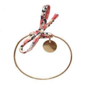 Bracelet jonc cordon liberty & médaille en plaqué or à personnaliser