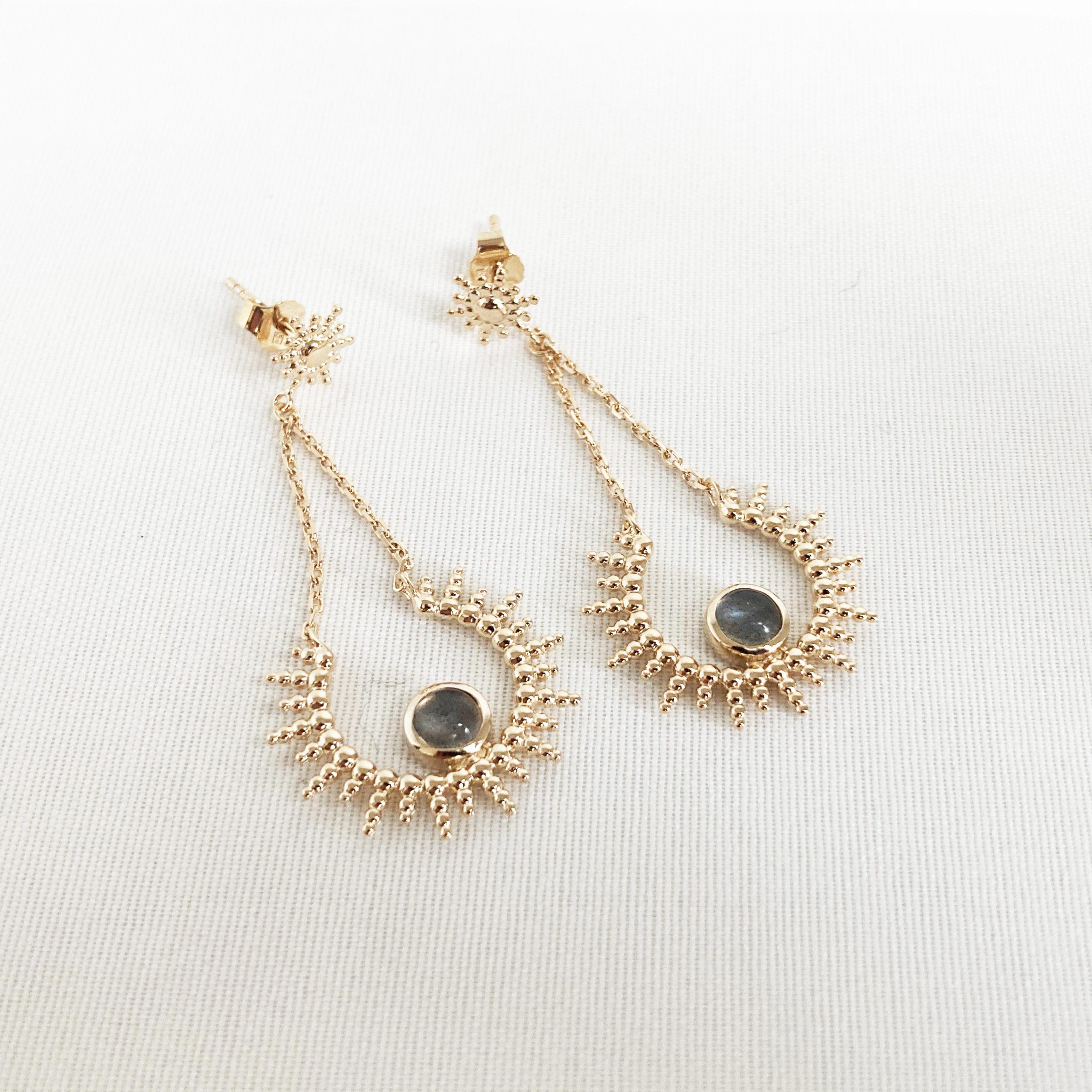 Créoles perles - Améthyste étoile plaqué or